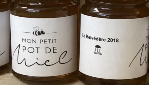 Petits pots de miel du Belvédère prêts à être dégustés !